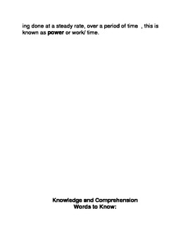 Work and Energy Common Core Reading and Writing Activities