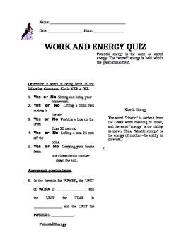 Work and Energy QUIZ