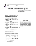 Work and Energy QUIZ