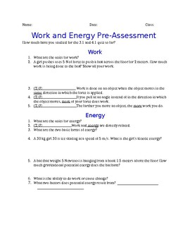 Work and Energy Review Choice Board
