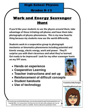 Work and Energy Scavenger Hunt for Physics Students