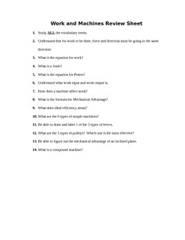 Work and Machines Assessment (Quiz)
