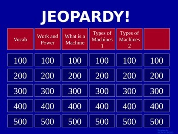 Work and Power - Jeopardy Review Game