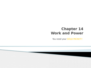 Work and Power Notes