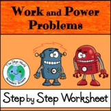 Work and Power Problems - Step by Step Worksheet