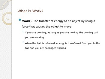 Work and Power - Work and Power