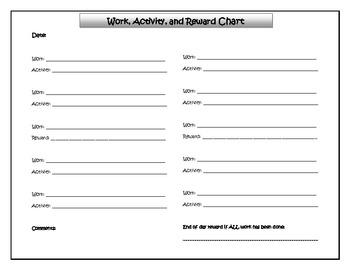Work and Reward Chart