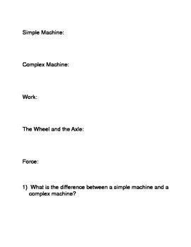 Work and Simple Machines Common Core Reading and Writing Activities