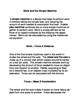 Work and Simple Machines Common Core Reading and Writing A