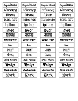 Work and Simple Machines Cut-n-Paste Vocabulary