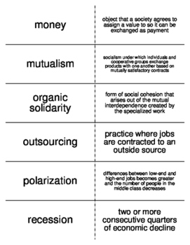 Work and the Economy Vocabulary Flash Cards for Sociology