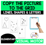 Work on MEMORY, VISUAL MOTOR SKILLS, SHAPES with GRID DRAWINGS
