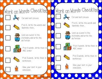 Work on Words Checklist