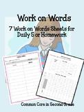 Work on Words- Word Work- Spelling Word Practice