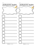 Work on Writing - Acrostic Poem Template
