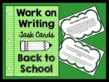 Work on Writing Activities - Task Cards - BACK TO SCHOOL
