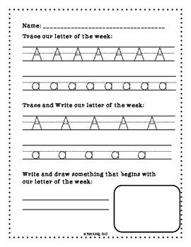 Work on Writing Set: Back to School Kindergarten Worksheets