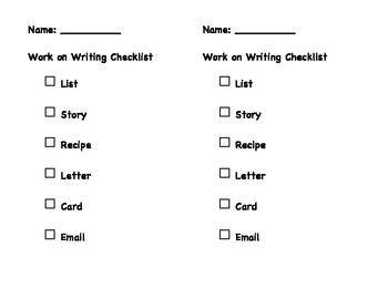 Work on Writing Checklist