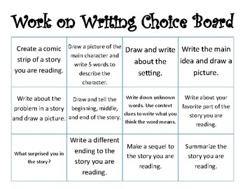 Work on Writing Choice Board for Primary