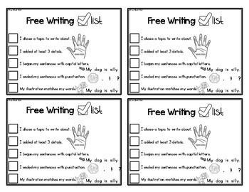 Work on Writing Free Write Checklist