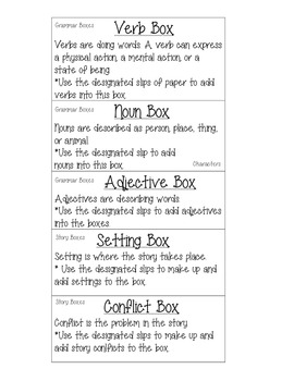 Work on Writing Grammar and Story Boxes