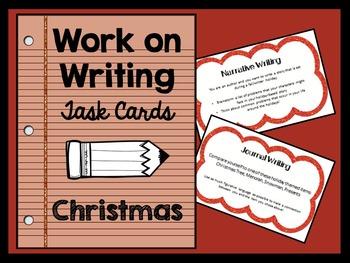 Work on Writing Activities - Task Cards - CHRISTMAS