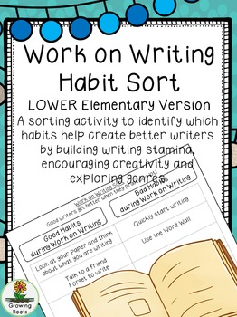 Work on Writing Habit Sort LOWER elementary version