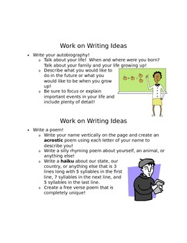 Work on Writing Ideas
