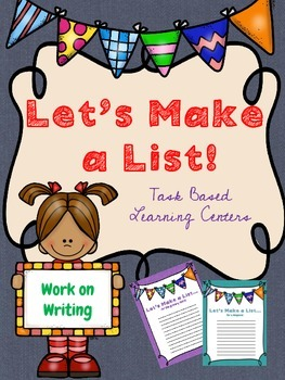 Work on Writing: *Let's Make a List* Learning Center