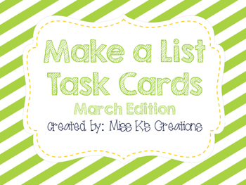Work on Writing: Make a List {March}