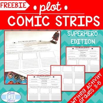 Narrative Writing Plot Comic Strips-Superhero Edition FREEBIE