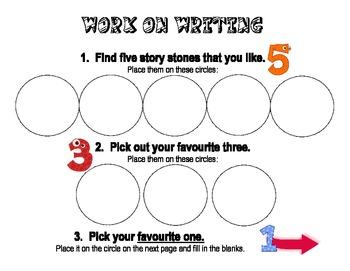 Work on Writing - Story stones instructions and sentence worksheet