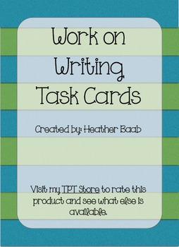Work on Writing Task Cards (Sample)