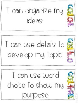 Work on Writing: Writing Goals Poster Pack