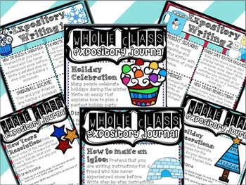 Work on Writing for Upper Elementary: WINTER Theme Center Work BUNDLE!