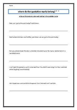 Work sheet plus a lesson plan on learning quotation marks