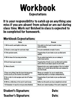 Workbook - Marking and Expectation File