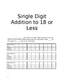 Workbook: Single Digit Addition, Subtraction, Mixed Practice 18 or less