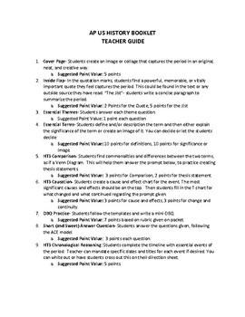 AP US HISTORY BOOKLETS Teacher Guide