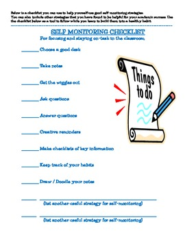 Workbook for Self-Montoring / Strategies to stay on-task in class