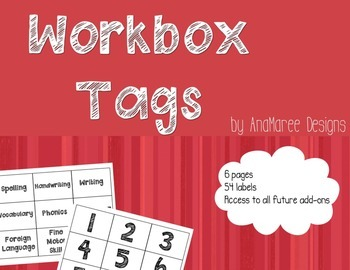 Workbox Tags. Black & white labels for subjects.