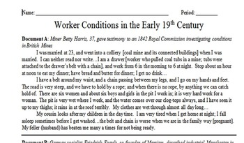 Working Conditions during Industrial Revolution Primary Source Assignment
