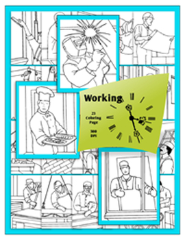 Working 9 to 5 - Commercial Clip Art for Classroom Creations and Coloring Pages