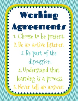 Working Agreements Poster