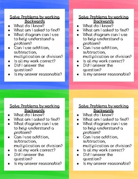 Working Backwards: Problem Solving Strategy Cards