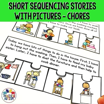 Working / Chores Short Story Sequencing Jigsaws