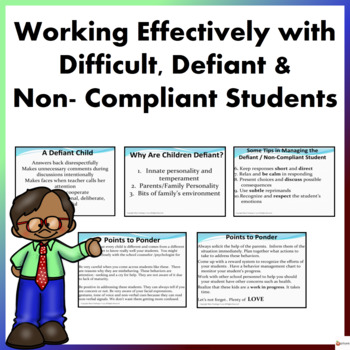 Working Effectively with Difficult, Defiant, & Non- Compli