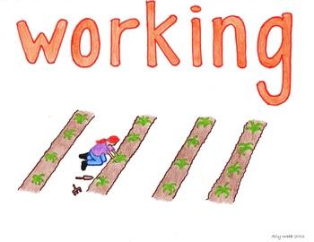 Working Hard Cartoon--Printable Montessori Homonym Cards