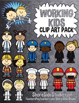 Community Workers Kids Clip Art Pack