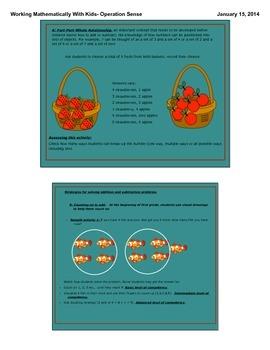 Operation Sense- Working Mathematically with Kids-